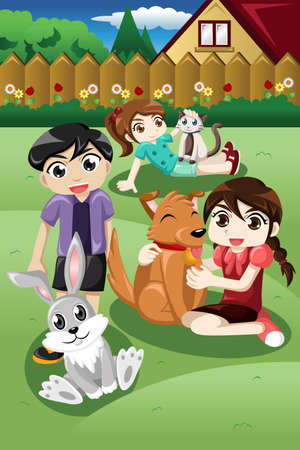 youthful: A vector illustration of kid playing with their pets in the garden