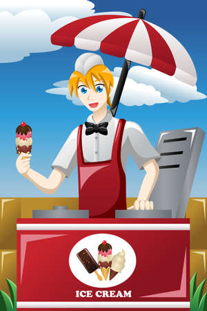 A vector illustration of man selling ice cream in the park Vector