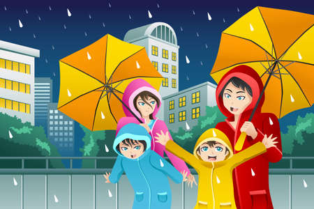 A vector illustration of family walking with umbrella and wearing raincoats in the big city