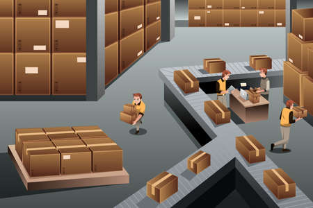 industry: A vector illustration of distribution warehouse viewed from above