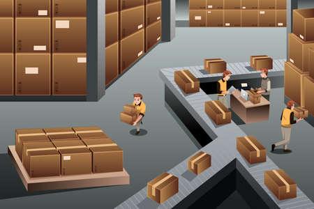 Une illustration de vecteur d'entrepôt de distribution en vue de dessus