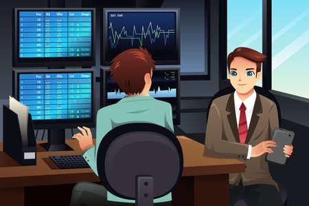 stock trader: Una ilustraci�n vectorial de corredor de bolsa mirando los monitores del mercado de valores