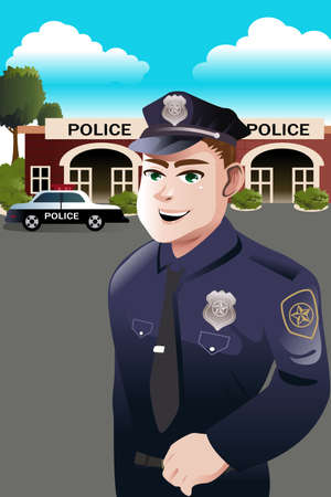 A vector illustration of policeman standing in front of police station