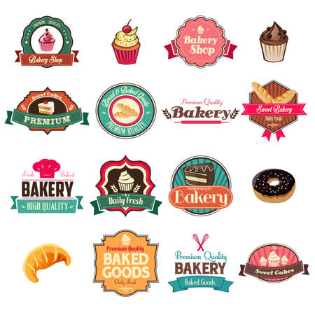 A vector illustration of vintage bakery collection of icons and tag sets Vector