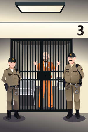 A vector illustration of prisoner in the jail being guarded by prison guards Vector