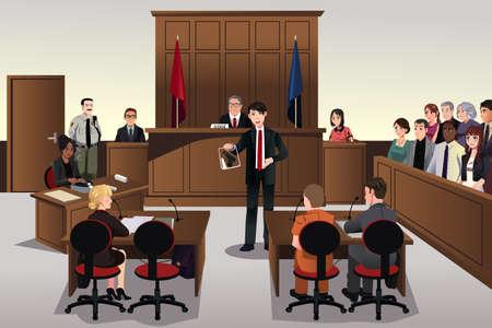 prosecutor: Una illustrazione vettoriale di scena di corte Vettoriali