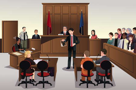 A vector illustration of court scene Vectores