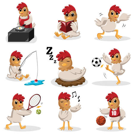 A vector illustration of chicken characters doing different activities Иллюстрация