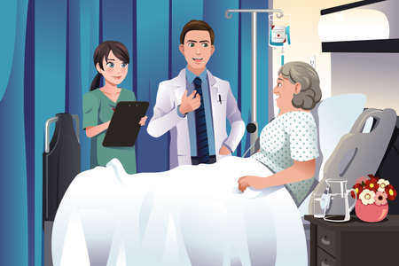 hospital cartoon: A vector illustration of doctor and nurse talking to a patient at the hospital