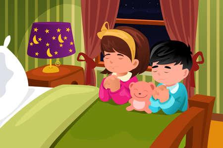 Een vector illustratie van kinderen bidden voor het slapen gaan