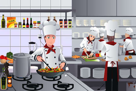 A vector illustration of scene inside a busy modern restaurant kitchen Vectores