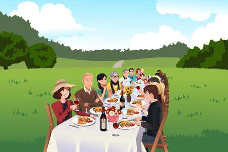 Una ilustración vectorial de grupo de personas comiendo en una mesa de granja