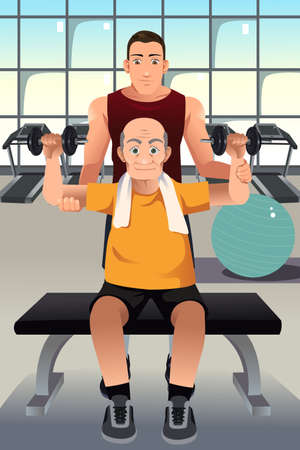 A vector illustration of personal trainer training an elderly man in the gym