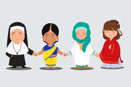Een vector illustratie van multi-etnische mensen hand in hand samen Stock Illustratie