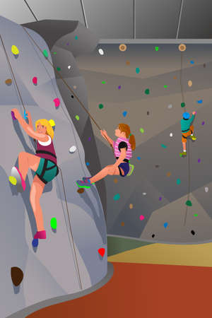 indoors: A vector illustration of people climbing indoor wall