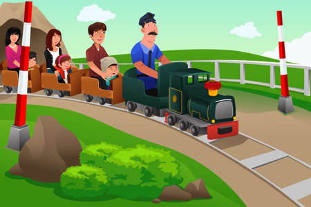 A vector illustration of Kids and their parents riding a small train in an amusement park