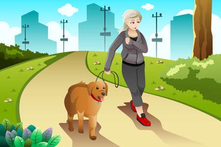 A vector illustration of old lady exercising with her dog outdoor Çizim