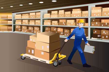 A vector illustration of man working pulling a cart full of boxes in a warehouse