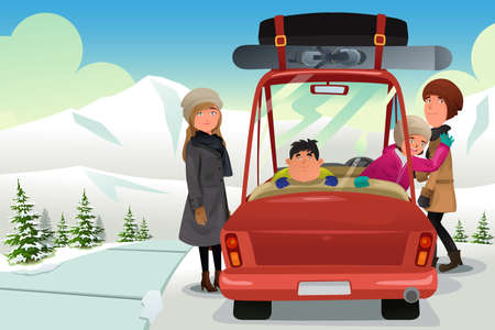 winter car: A vector illustration of happy family going to a winter holiday trip