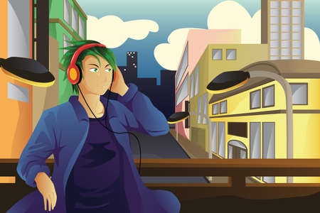 A vector illustration of man listening to music with city buildings in the background Illusztráció
