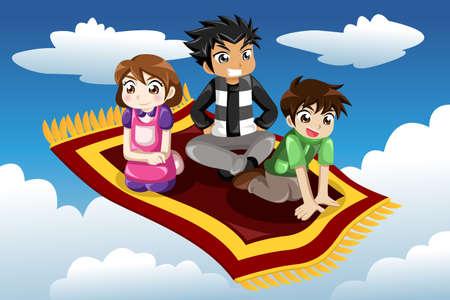空飛ぶじゅうたんに乗って子供のベクトル イラスト  イラスト・ベクター素材