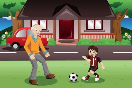 A vector illustration of grandpa and grandson playing soccer in the front yard Ilustração