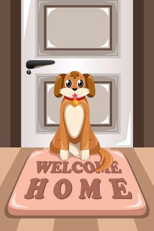 家の前に「ウェルカム ホーム」を言う、マットに座ってかわいい犬のベクトル イラスト