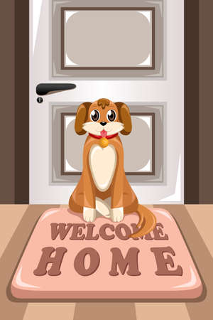 welcome home: A vector illustration of cute dog sitting on a mat that says Welcome Home in front of a house