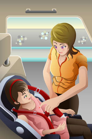 A vector illustration of mother strapping seatbelt on her child car seat Ilustração