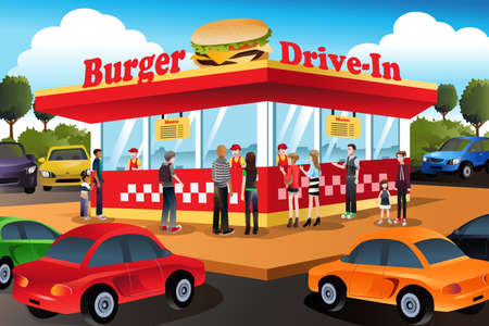 food industry: A vector illustration of people ordering hamburger at a drive-in hamburger restaurant