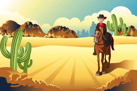 A vector illustration of cowboy riding a horse in the desert Vector