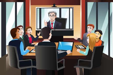 cliparts: Una illustrazione vettoriale di uomini d'affari in una video conferenza in ufficio Vettoriali