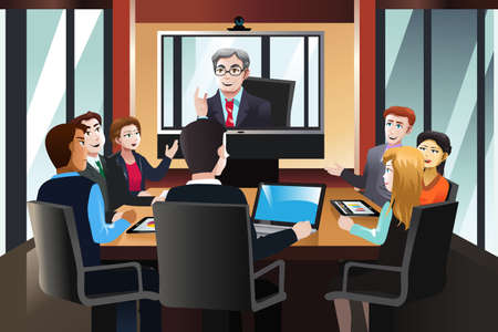 sala de reuniones: Una ilustración vectorial de gente de negocios en una videoconferencia en la oficina Vectores