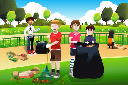 A vector illustration of kids volunteering cleaning up the park Vectores