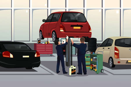 A vector illustration of auto mechanic fixing a car under the hood in the auto repair garage