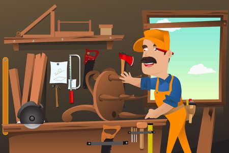 Een vector illustratie van de timmerman die het maken van een stoel in de werkplaats