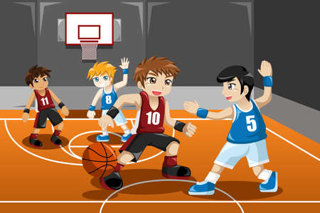 teamwork cartoon: A vector illustration of group of kids playing basketball indoor