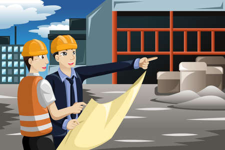 A vector illustration of architect working at the construction site Zdjęcie Seryjne - 32142286