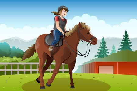 Una illustrazione vettoriale di bambina in sella a un cavallo