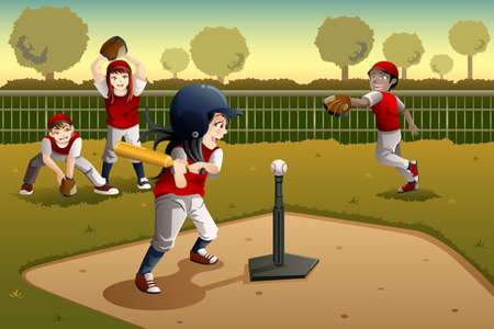 A vector illustration of little kids playing Tee ball Vector