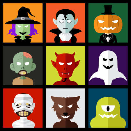 A vector illustration of Halloween monster icons Vector