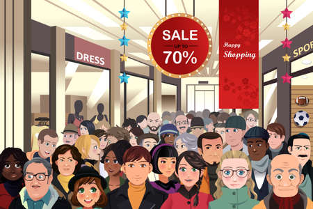 crowds': A vector illustration of Holiday shopping sale scene