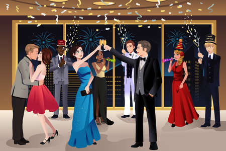 A vector illustration of New Year Eve party indoor  Ilustrace