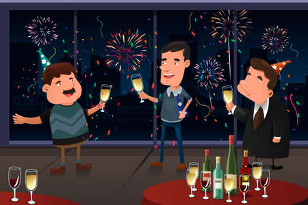 A vector illustration of people having New Year Eve party indoor Çizim
