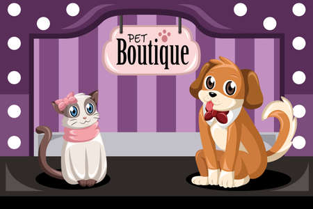cat grooming: A vector illustration of pet boutique