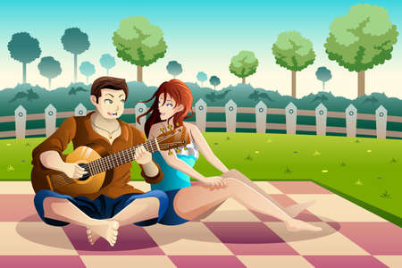 picnic park: A vector illustration of happy couple playing guitar together in a park