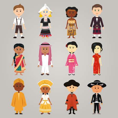 Een vector illustratie van de verschillende etnische mensen dragen hun traditionele klederdracht