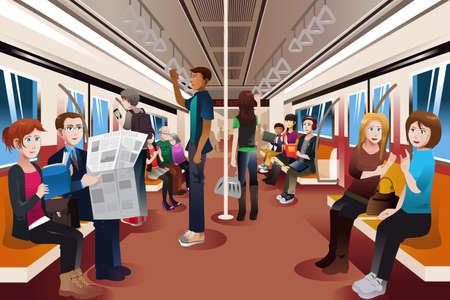 and people: Una ilustración vectorial de diferentes personas en el interior del metro lleno de gente Vectores