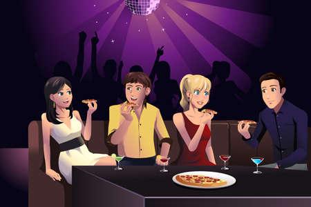 Een vector illustratie van jonge mensen het eten van pizza in een feest in een club