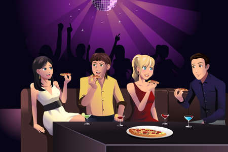 A vector illustration of young people eating pizza in a party at a club